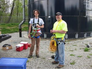 Tom Waters (USEPA TSC) and Paul Handke (PA DEP) prepare to collect water quality samples as part of the storage tank assessment special study.