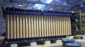 Membrane filtration racks at the Cliff and Eldine Poe Region Water Treatment Plant in Kempner, TX