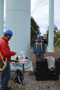 Matthew Alexander (EPA TSC), Tom Waters (EPA TSC), and Gerard Henderson (EPA SHEM) preparing safety equipment prior to the study.